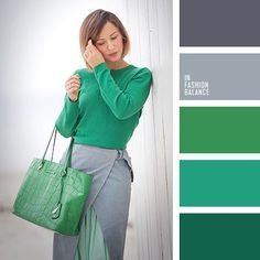 Emerald Green, green, grey, light grey, shades of grey. Colour Combinations Fashion, Color Combinations For Clothes, Fashion Colours, Colorful Fashion, Color Combos, Color Schemes, Mode Cool, Colour Pallete, Color Palettes