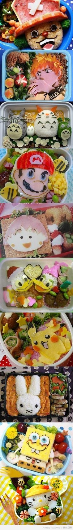 Funny pictures about Amazing food creations. Oh, and cool pics about Amazing food creations. Also, Amazing food creations photos. Bento Kawaii, Cute Bento, Japanese Food Art, Japanese Lunch Box, Japanese Cartoon, Amazing Food Creations, Boite A Lunch, Bento Recipes, Bento Ideas