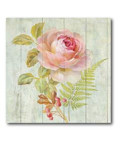 A warm floral design is set against a plank-style backdrop for a home accent that offers tranquil cottage elegance.  Shipping note: This item is made to order. Allow extra time for your special find to ship.