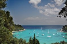 Greec, Paxos - Lakka Bay ~ The color or the water is incredible! Paxos Greece, Paxos Island, Holiday Destinations, Holiday Travel, Homeland, Places To Go, The Incredibles, World, Beach