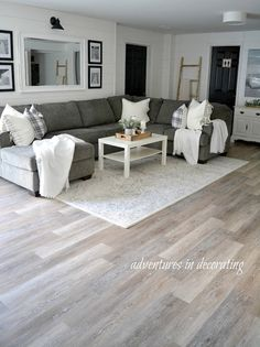living room flooring ,Home Depot TrafficMASTER Allure Khaki Oak Luxury Vinyl Plank Flooring Basement Renovations, Home Renovation, Home Remodeling, Basement Ideas, Basement Plans, Best Basement Flooring, Open Basement, Basement Ceilings, Basement Apartment