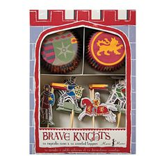 Brave Knights Cupcake Decorating Kit, Medieval Times Themed Cupcake Picks & Baking Cases, /each Cupcake Cases, Cupcake Picks, Ballet Cupcakes, Knight On Horse, Green Knight, Knight Party, Holiday Cupcakes, Happy Birthday, Apps