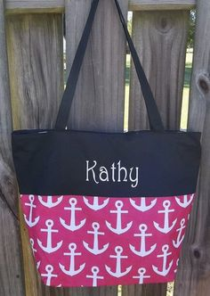 Monogrammed Red and White Anchor Tote with Black Trim | The Old Bag's Bags