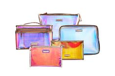 Love these holographic makeup bags!