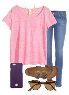 i've used birks in like every set srry about that by prep-lover1 on Polyvore featuring polyvore, fashion, style, H&M, J Brand, Birkenstock, Tory Burch and Ray-Ban