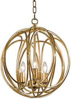 Regina Andrew Design Gold Ofelia Chandelier, Medium, A lustrous brass finish completes the contemporary feel of this orb-shaped, three-light chandelier. Indoor Lighting, Lighting And Ceiling Fans, Beach Signs Wooden, Ceiling Lights, Bulb, Chandelier Lighting, Lights, Home Styles Exterior, Chandelier