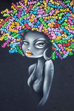 Vinie is a graffiti artist from Paris, France. Black Women Art, Black Art, Photographie Street Art, Pop Art, Art Afro, Art Du Monde, Urbane Kunst, Street Art Photography, Street Art Graffiti