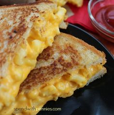 Grilled Mac & Cheese Sandwich Ooey gooey cheesey mac 'n cheese between crispy bread! Love it? Pin it to SAVE it! Follow Spend With Pennies on Pinterest for more great recipes! This is an awesome sandwich combining two childhood favorites! ...