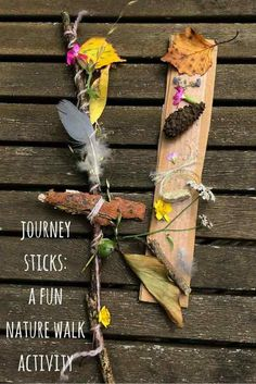 Nature crafts for kids: how to make a journey stick on a nature walk. A brilliant nature craft to help children learn about nature and their environment. Forest School Activities, Nature Activities, Toddler Activities, Learning Activities, Outdoor Activities, Sorting Activities, Summer Activities, Kids Learning, Art Et Nature