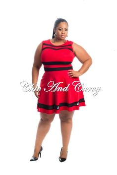 New Arrival   Skater Dress with Mesh Lining in Black and Red   Available at: http://chicandcurvy.com/newarrivals/product/10685-new-plus-size-skater-dress-with-mesh-lining-in-black-and-red-1x-2x-3x