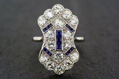 Art Deco Sapphire Ring - Antique 1920s Sapphire & Diamond Art Deco Ring
