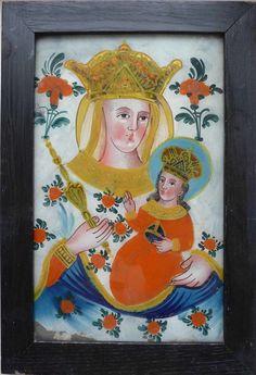 Czech folk art, 18.century Contemporary Decorative Art, Religious Paintings, Madonna And Child, Naive Art, Sacred Art, Virgin Mary, 18th Century, Flower Art, Folk Art