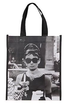 AUDREY HEPBURN BREAKFAST AT TIFFANY'S SMALL SHOPPING TOTE from Hot Topic. So sweet to bring your laptop to class!!