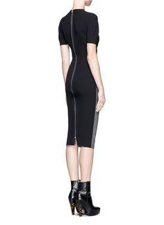 Fashion Color Block Victoria Beckham Dress Short Sleeve Bodycon Slim Party Dress Elegant Office Wear
