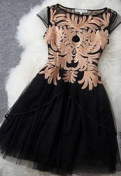 Gold embroidered Black dress