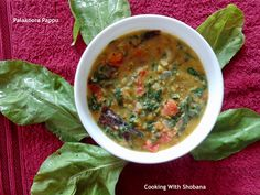 Palakoora Pappu, spinach cooked in dal in the Andhra style