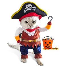 Made of polyester and non-woven fabric, soft and breathable. This cool pirate costume design turns your pet into a humoristic pirate. Halloween Christmas, Halloween Party, Pet Halloween Costumes, Medium Dogs, Pirates Of The Caribbean, Pet Clothes, Animal Design, Funny Cats, Dog Cat