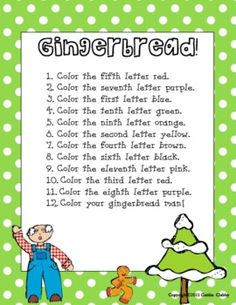 Students will read the ordinal numbers and follow the directions in order to color in the word Gingerbread