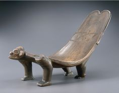 ceremonial seat Taino population, Hispaniola (Haiti and Dominican Republic), the Greater Antilles.  1200-1500 AD.  Guaiac wood H. 42 cm;  L. 78 cm.  Don F. and R. David-Weill.  Inv.  Am 71.1950.77.1