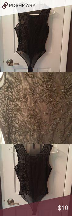 VS bodysuit Beaded detail on front, mesh back, Great condition Victoria's Secret Intimates & Sleepwear Chemises & Slips
