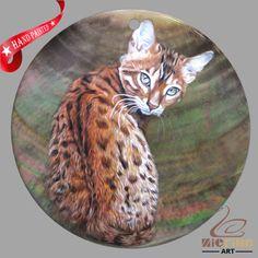 HAND PAINTED CAT SHELL CREATIVE NECKLACE PENDANT ZP30 01399 #ZL #PENDANT
