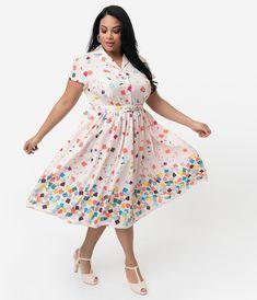 34a5e879 Unique Vintage + Pantone Plus Size 1950s Style Color Chips Print Alexis  Shirtdress 1950s Inspired Fashion