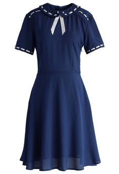 Pretty Ribbon Trimmed Dress in Navy - Retro, Indie and Unique Fashion