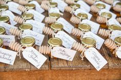 Lovely little honey jar favors....with escort tags in my fancy script! Handwritten place cards or escort cards add a very personal touch to a reception {just sayin'}