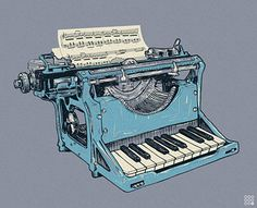 A typewriter that has piano keys and types musical notes. Music Score, Foto Art, Music Stuff, Music Items, Music Pics, Music Things, At Least, Musicals, Art Prints