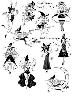 Halloween Witches Set This is great set with Halloween mood and dark magic! Modern witches in nowadays and witchcraft for everyday using. Create your own magic! Halloween Tattoo, Halloween Skull, Halloween Witches, Art Sketches, Art Drawings, Witch Drawing, Witch Tattoo, Witch Art, The Witch