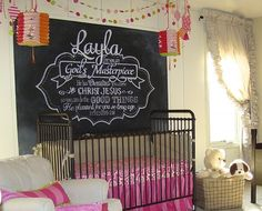 Charming girls nursery with Raspberry colored accents and awesome chalkboard!