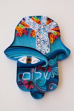 housewarming gift Hamsa hand by Paperila on Etsy Jewish Crafts, Jewish Art, Quilling Designs, Paper Quilling, Paper Art, Paper Crafts, Hamsa Tattoo, Quilling Techniques, Hand Of Fatima