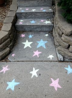 Katelyn's superhero party sidewalk chalk stars.