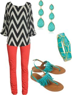 coral and chevron and teal. Im in love with this outfit.