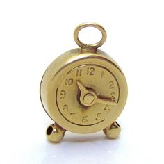 Vintage 14K Gold 3D Movable Table Clock Charm from charmalier on Ruby Lane