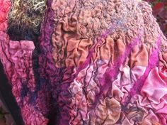 Textures in a nuno felt scarf