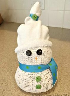 Simple DIY Christmas Craft Ideas for Kids - Sock Snowman - Click PIN for 25 Holiday Decoration Ideas