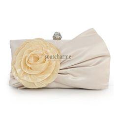 Pochette soirée champagne pas cher en satin rehaussé de fleur pochette portefeuille femme tendance
