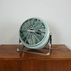 Aqua blue vintage desk fan/Retro table fan/Westinghouse electric fan / Two speed table fan / Riviera R 2020 floor table fan by gillardgurl on Etsy