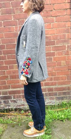 Harris Tweed chaqueta bordado a mano por didyoumakeityourself