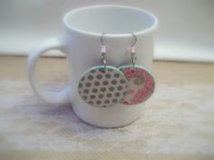 Pink Paisley Print Earrings Green Polka Dot by CraftyGalBoutique