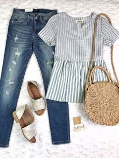 Morgan Blouse - Blue & White Striped Peplum Top from Blooming Cactus Boutique - listicle peplum Mode Outfits, Fall Outfits, Summer Outfits, Fashion Outfits, Womens Fashion, Fashion Trends, Fashion Decor, Fashion 2018, Ladies Fashion