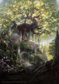 Temple Garden Promo by Magic: The Gathering by Alayna on DeviantArt - . - Temple Garden Promo by Magic: The Gathering by Alayna on DeviantArt – - Fantasy Artwork, Fantasy Art Landscapes, Fantasy Landscape, Landscape Art, Fantasy Garden, Fantasy Drawings, Garden Art, Fantasy Concept Art, Garden Cottage