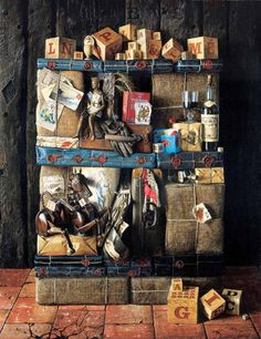 "Jacques Poirier (1928–2002) the greatest painter of still life/trompe l'oeil of all times. Adding deep meanings and humour in his masterpieces. pic: ""histoire d'h"""