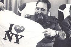 Fidel Castro Leaves New York City -1979 with I Love NY shirt!