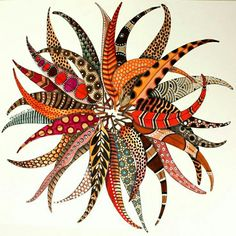 Feathers- but would like to cut different African fabrics and recreate something similar as decoupage on my round coffee table.