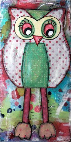 Original Mixed Media on Canvas - Painting Home Decor Artwork - Folk Art Owl -  Polly Red Owl. $50.00, via Etsy.