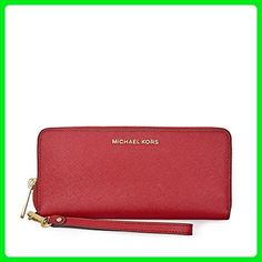 Michael Kors Jet Set Travel Leather Continental Wallet- Burnt Red - Wristlets (*Amazon Partner-Link)