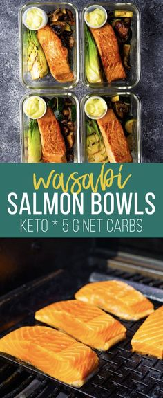 Low carb grilled salmon bowls have just 5 g net carbs per bowl and are perfect for keeping your oven off this summer! Salmon, bok choy, mushrooms and zucchini are grilled to perfection and served with spicy wasabi mayonnaise. #sweetpeasandsaffron #mealprep #keto #lowcarb #glutenfree