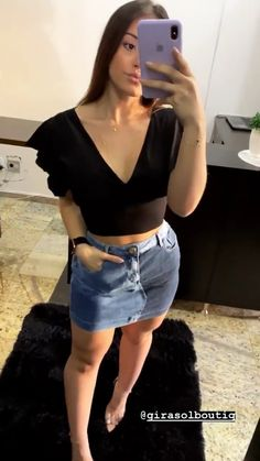 Short Outfits, Stylish Outfits, Cool Outfits, Girl Fashion, Fashion Outfits, Womens Fashion, Fashion To Figure, Looks Black, Denim Outfit